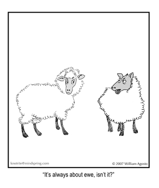 It's always about ewe, isn't it? asks the sheep